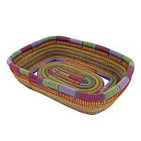 A Forest Gift - Eco-Friendly Handmade Pine Needle and Colorful Thread Basket