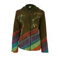 Earth's Goodness - Hand-Embroidered Zippered Front Hoodie Fair Trade from Nepal