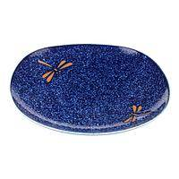Starry Night - Cobalt Blue Salad Plate Decorated With Dragonflies
