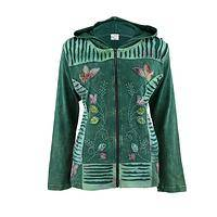 Forest Dew - Cozy Embroidered Zippered Jacket