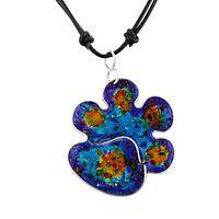 Brilliant Rainbow - Semi-Precious Gemstone Enhanced Paw Print Necklace