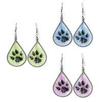 Starburst Paws - Threaded Wire Paw Print Earrings