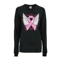 Hope Has Wings - Pink Ribbon Breast Cancer Support Angel Wing Tee-Shirt