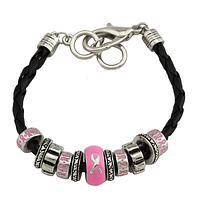 Pink United - Detailed Pink Ribbon Bead Bracelet