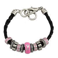 Pink United - Detailed Pink Ribbon Bead Bracelet