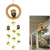 Owlets in the Ivy - Sweet Hoot Owl Chicks and Fluttering Ivy Leaves Garden Chime