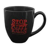 Urgent Plea - Black Coffee Cup With Stop Puppy Mills Inscription