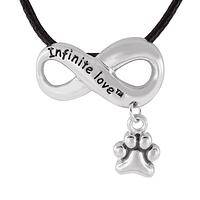 Infinite Love - Silvery Infinity Sign Paw Print Charm Braided Cord Necklace