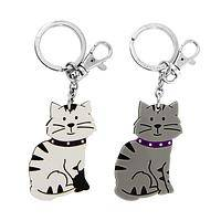 Kitty Key Caddy - Tabby Cat Keychain of Acrylic and Metal