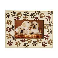 Paw-fect Print Frame - Rustic Wood Paw Print Picture Frame for 3x5-Inch Photos