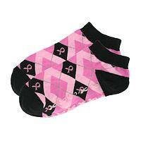 Dancing Feet - Stylish Pink Ribbon Argyle Slipper Socks With Rubber Treads