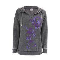 Pitter Patter Purple - Paw Print Scroll Burnout Pullover Cotton/Poly Hoodie Top