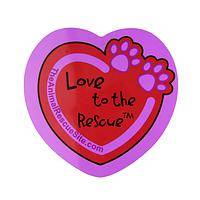 Love to The Rescue - Purple Paws and a Big Heart Cat and Dog Rescue Car Magnet
