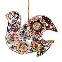 The Dove of Peace - Upcycled Magazine Roll Dove Christmas Tree Ornament