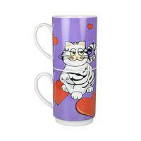 Purr Romance - Stacking Nesting Cat and Heart Mugs (Set of 2)