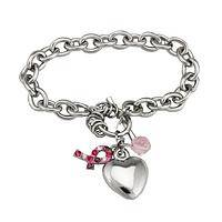 Hearts of Love & Support - A Pink Ribbon Heart for Breast Cancer Awareness Bracelet