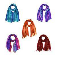 Shining Rainbow Scarves - Prismatic Stripes Of Colors in Each Cotton Handmade Scarf