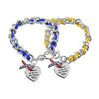 Air Force Wife's Heart - Supportive Spouse Patriotic Ribbon Bracelet with Charm