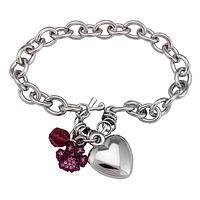 Shining Hearts Bracelet - A Heartfelt Purple Paw Designer Silver-Tone Bracelet