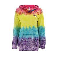 Paws Together - Rainbow Refreshing Paw Tie Dye Hooded Sweatshirt