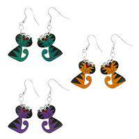 Out of Your Gourd - Hand-Carved Gourd Fanciful Cat Earrings in Bright Colors