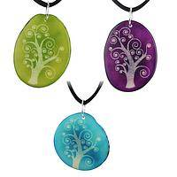 Life Is Art - Handmade Dyed and Etched Tagua Nut Tree of Life Rainfoe