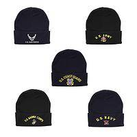 Proud Service - Knit Hat With Embroidered Armed Forces Branch and Emblem