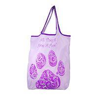 Until They All Have a Home - Paisley Purple Paw Compact Shopping Bags