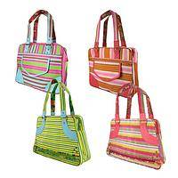 Sunrise Striations - Lavish Stripes Nylon Tote Bag with Zip Top and Compartments