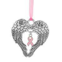 Protective Angel - Silvery Christmas Ornament for Breast Cancer Awareness