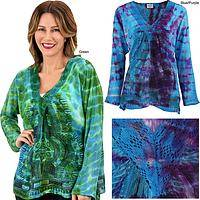Tie Dye Spirit Crocheted Long Sleeve Top