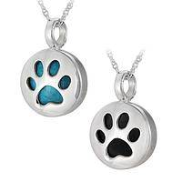 Paw Print Silhouette Gemstone & Sterling Necklace
