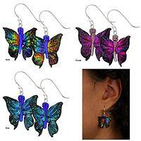 Dichroic Glass 3D Butterfly Earrings
