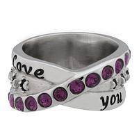 I Love You More Swarovski Crystal Paw Ring