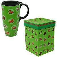 Naughty or Nice Dog Travel Mug - Christmas Themed Coffee Latte Cup with Gift Box