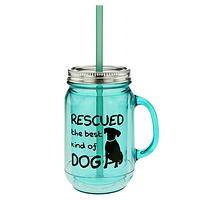 Best Kind of Dog Mason Jar Mug - Rescued Dog Advocacy Travel Drink Cup or Party Serveware