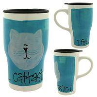 Cattastic Travel Mug - Ceramic Kitty Latte Travel Cup Handmade by Kimberly Geiger