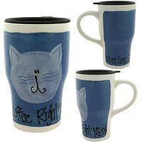 Coffee Right Meow Travel Mug - Hand Painted Happy Cat Face Tall Latte Mug To Go