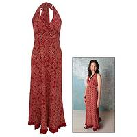 Hand Block Printed Medallion Maxi Dress