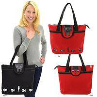 It's a Cat's Life Tote - Sturdy Canvas and Faux Leather Playful Kitten Bag