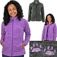 Purple Paw Melange Fleece Jacket