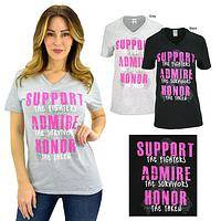 Support Admire Honor Pink Ribbon V-Neck T-Shirt