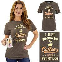 Sip Coffee & Pet My Dog T-Shirt