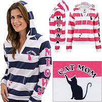 Cat Mom Striped Hoodie
