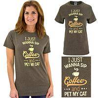 Sip Coffee & Pet My Cat T-Shirt