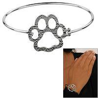Hammered Paw Print Hooked Bangle Bracelet