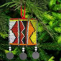 Kenyan Beaded Tribal Square Ornament