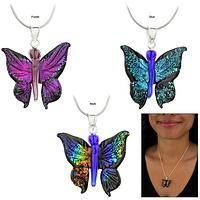 Dichroic Glass 3D Butterfly Necklace
