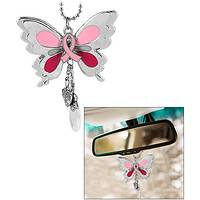 Pink Ribbon Butterfly Car Charm