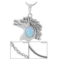 Sterling & Opal Horse Necklace